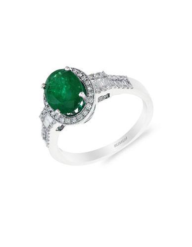 EFFY14K White Gold Emerald and Diamond Ring