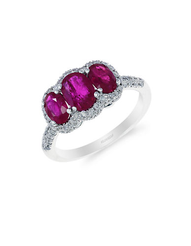 EFFY 14K White Gold Natural Ruby and Diamond Three-Stone Ring