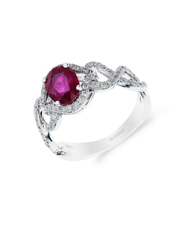EFFY 14K White Gold Natural Ruby and Diamond Ring