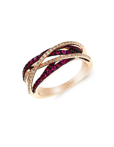 EFFY Rosa Diamond And Ruby 14K Rose Gold Ring
