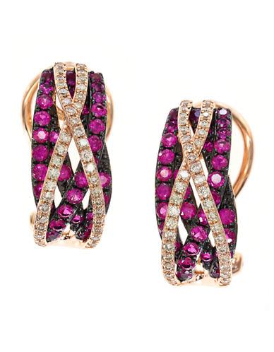 EFFYDiamond And Ruby 14K Rose Gold Earrings