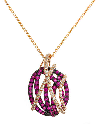 EFFY Rosa 14K Rose Gold Natural Ruby and Diamond Pendant Necklace