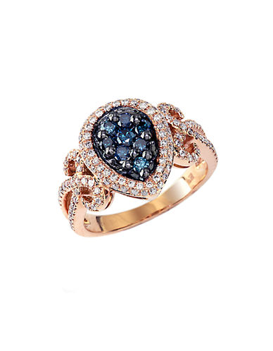 EFFYBella Bleu Blue Diamond Drop Ring in 14 Kt. Rose Gold