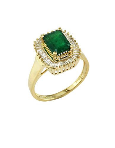 EFFYBrasilica Emerald and Diamond Ring in 14 Kt. Yellow Gold