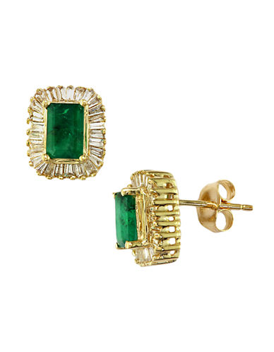Emerald and Diamond Earrings in 14 Kt. Yellow Gold