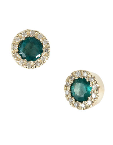 14Kt. Yellow Gold Emerald & Diamond Earrings