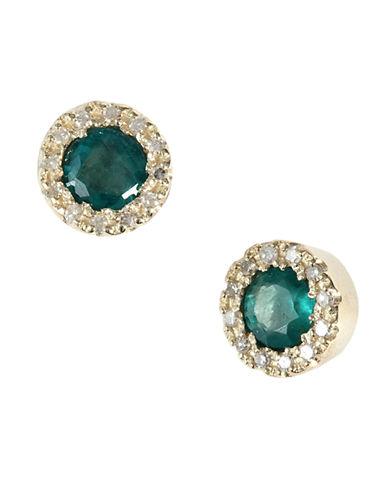 14Kt. Yellow Gold Emerald & Diamond Earrings