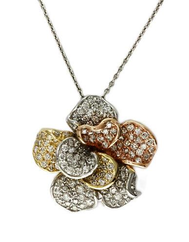 EFFYTrio Diamond Flower Pendant in 14 Kt. Tri-Tone Gold, 1.57 ct. t.w.