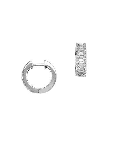 EFFYClassique 14 Kt White Gold 0.76 ct t w Diamond Hoop Earrings