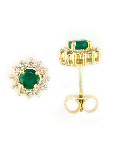 14 Kt. Yellow Gold Emerald & Diamond Stud Earrings