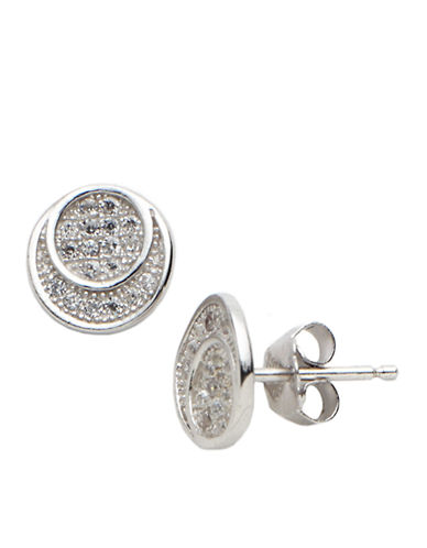 LORD & TAYLOR Sterling Silver and Cubic Zirconia Round Stud Earrings