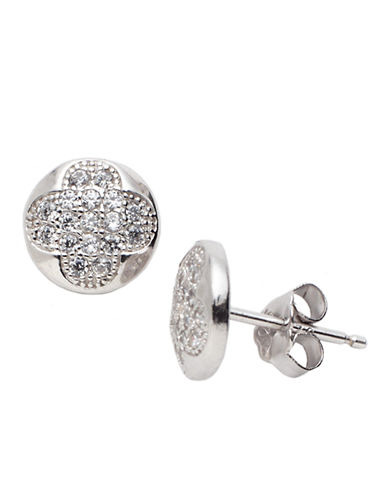 LORD & TAYLOR Sterling Silver & Cubic Zirconia Round Stud Earrings