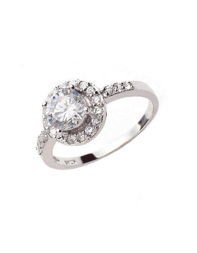 LORD & TAYLOR Sterling Silver and Cubic Zirconia Pave Solitaire Ring