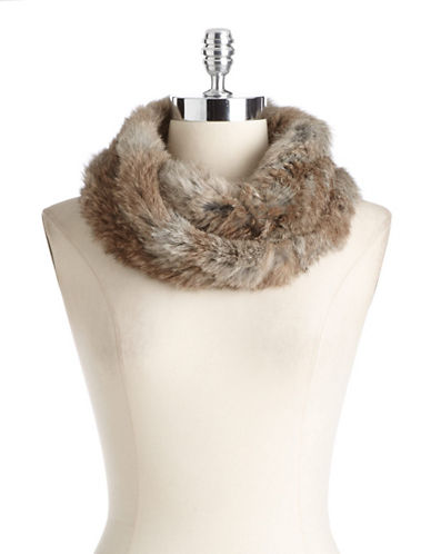 SURELL Rabbit Fur Infinity Loop Scarf