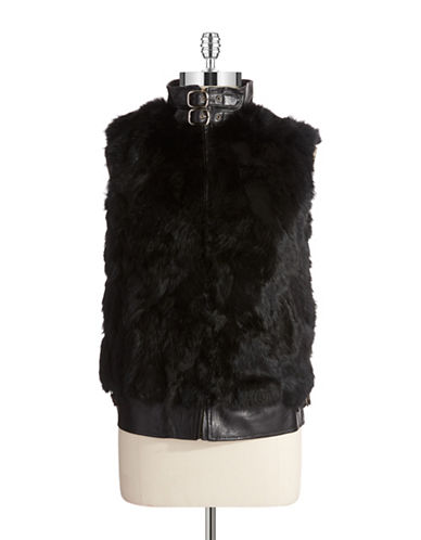 Surell Rabbit Fur and Leather Vest
