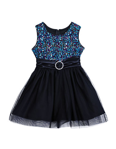 ALLY B Girls 2-6x Multi Color Sequined Dress with Tulle Skirt