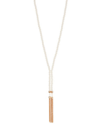 CARA Faux Pearl Lariat Necklace