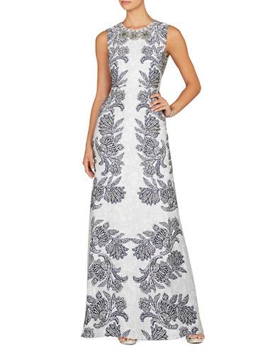BCBGMAXAZRIAFloral Print Necklace Gown