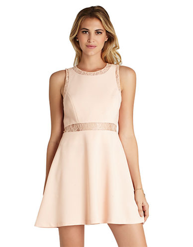 Shop Bcbgeneration online and buy Bcbgeneration Lace Inset Fit-and-Flare Dress dress online
