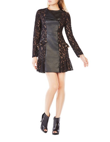 bcbgmaxazria female briony scroll lace ruffled aline dress