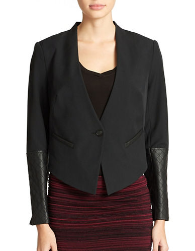 JESSICA SIMPSONFaux Leather Cropped Blazer