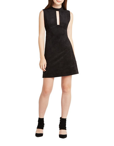 bcbg max azria female fauxsuede sleeveless shift dress