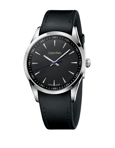 CALVIN KLEINMens Swiss Bold Stainless Steel Black Leather Strap Watch