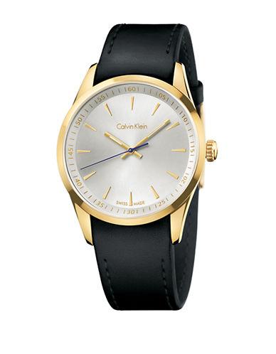 CALVIN KLEINMens Bold Goldtone Leather Strap Watch