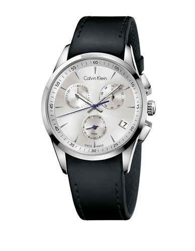 CALVIN KLEINMens Swiss Bold Stainless Steel Chronograph Black Leather Strap Watch