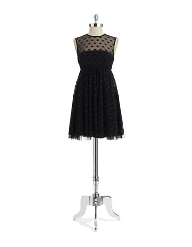 Shop Jill Jill Stuart online and buy Jill Jill Stuart Illusion Neck Polka Dot Dress dress online