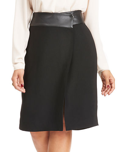 Mynt 1792 Plus Plus Wool Blend Boucle Asymmetrical Wrap Skirt