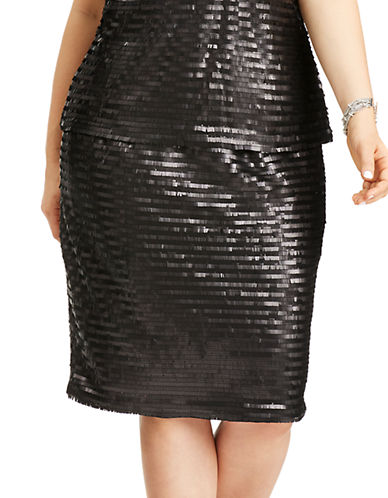 Mynt 1792 Plus Plus Shimmer Striped Pencil Skirt