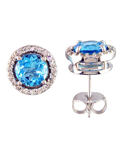 14 Kt. White Gold Blue Topaz & Diamond Stud Earrings