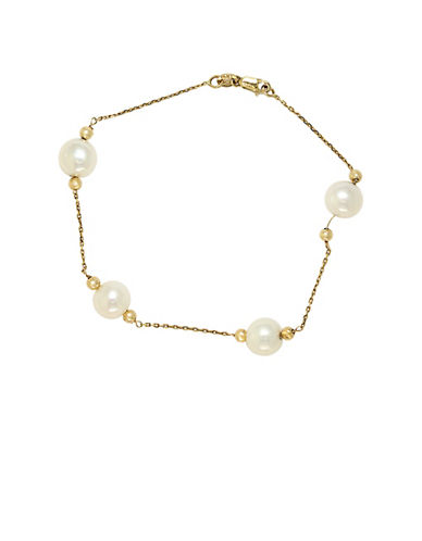 EFFY 14 Kt. Yellow Gold Freshwater Pearl Station Bracelet 5.5 6MM