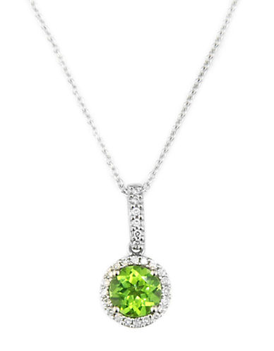 EFFY 14 Kt. White Gold Diamond and Peridot Necklace