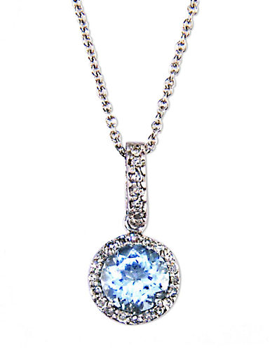 EFFY 14 Kt. White Gold Aqua and Diamond Pendant Necklace