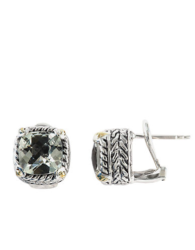 EFFYBalissima Sterling Silver and 18 Kt. Yellow Gold Green Amethyst Earrings