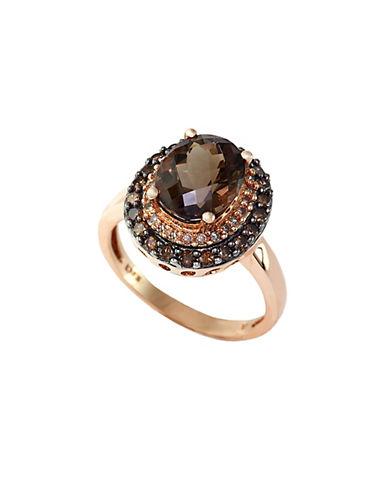 EFFY14Kt. Rose Gold Smokey Topaz Ring with Brown & White Diamonds
