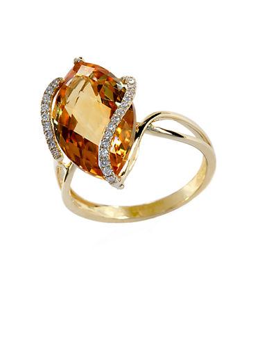 EFFY14 Kt. Gold Diamond Accented Citrine Ring