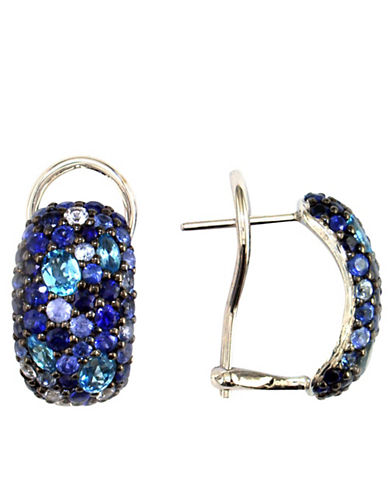 Sterling Silver Blue Sapphire & Blue Topaz Hoop Earrings