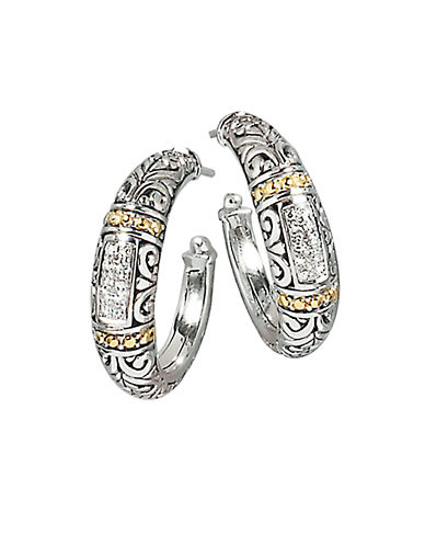 EFFYBalissima Sterling Silver Hoop Earrings with Diamond and Topaz Accents