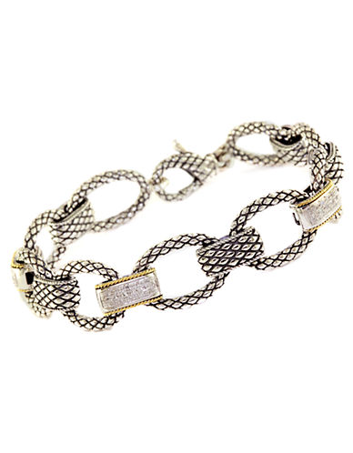 Sterling Silver & 18Kt. Yellow Gold Link Bracelet with Diamond Accents