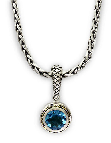 EFFYBalissima Blue Topaz Necklace in Sterling Silver with 18 Kt. Yellow Gold