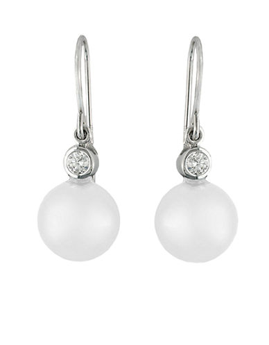 EFFY Freshwater Pearl Drop Earrings with Diamond Accents in 14 Kt. White Gold, 0.1 ct. t.w., 8mm x 10mm