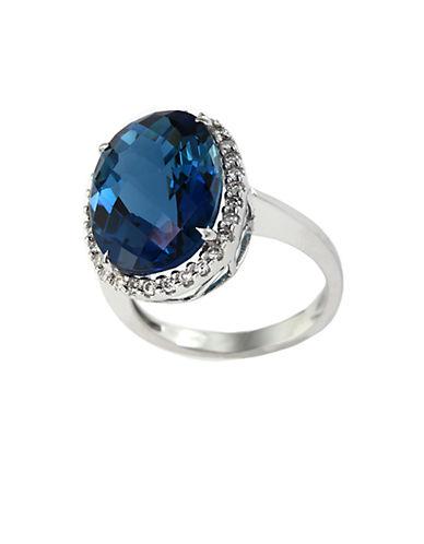 EFFY14Kt. White Gold London Blue Topaz and Diamond Ring