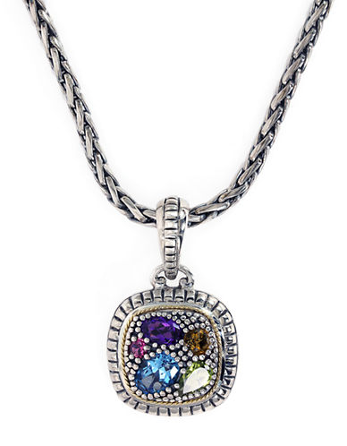 EFFYSterling Silver 18Kt Yellow Gold and Multi Stone Pendant Necklace