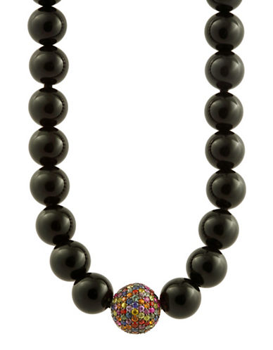 Multi Sapphire Ball Black Bead Necklace
