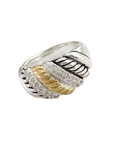 EFFYBalissima Sterling Silver and 18 Kt. Yellow Gold Textured Diamond Ring