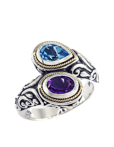 EFFY Balissima Sterling Silver with 18Kt. Yellow Gold Amethyst and Blue Topaz Ring