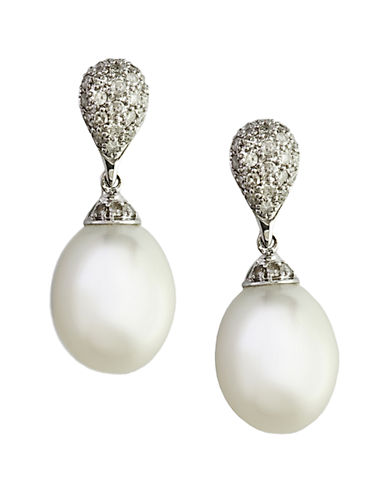 EFFY Freshwater Pearl Drop Earrings with Diamonds in 14 Kt White Gold